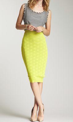 Bright pencil skirt + nude heels