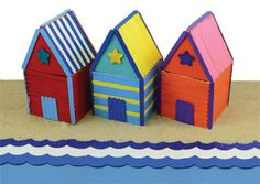 Beach Huts made from Craft Sticks