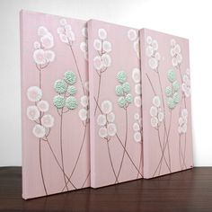 Super cute wall art...Great way to bring in the pink, aqua and cream or other accents!