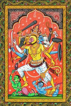 Panchamukhi Hanuman Panchamukhi Hanuman Killing Demon Brothers Mahiravana and Ahiravana to Rescue Rama and Lakshmana. Orissa Paata Painting on Canvas (via Dolls of India) Indian Traditional Paintings, Indian Paintings, Traditional Art, Krishna Leela, Shri Hanuman, Indian Folk Art, Hindu Art, Buddhist Art, Hinduism