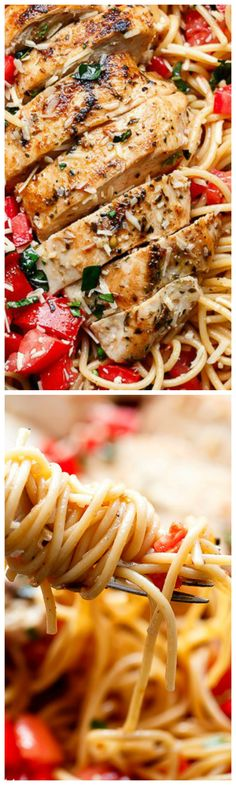 Bruschetta Chicken Pasta Salad ~ With Italian seasoned grilled chicken and a good kick of garlic and parmesan cheese, this is one pasta salad that will impress!