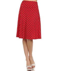 Red & White Polka Dot A-Line Skirt by One Fashion #zulily #zulilyfinds