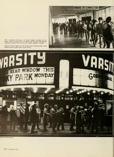 "Athena yearbook, 1984. ""Lines for buck night at the Varsity start forming early and extend back past many store fronts."" :: Ohio University Archives"