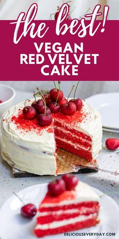 This vegan red velvet cake is rich, chocolatey, and topped with a decadent dairy-free buttercream frosting. You would never guess it's entirely vegan! Healthy Vegan Desserts, Vegan Dessert Recipes, Delicious Desserts, Dairy Free Buttercream, Buttercream Frosting, Vegan Chocolate Cookies, Chocolate Desserts, Vegan Red Velvet Cake, Vegan Birthday Cake