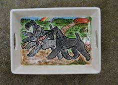 Kerry Blue terrier.  Handpainted ceramic tray .OOAK .LOOK