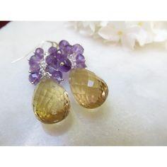 Amethyst Earrings, Golden Quartz Earrings, Faceted Amethyst Semi... ($28) ❤ liked on Polyvore featuring jewelry, earrings, birthstone jewelry, sterling silver earrings, gem jewelry, gem earrings and gemstone earrings
