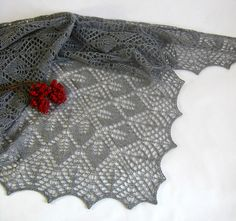 Lace Leaf Fall is a triangular shawl with traditional lace pattern.