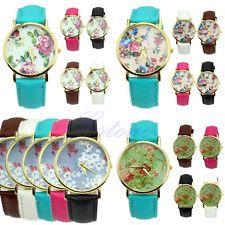 New Durable Geneva Leather Women's Rose Flower Watch Quartz Watches Useful