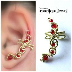OAAK Wire Wrapped Red Ear Cuff Earcuff by rsuniquejewel on Etsy, $15.00