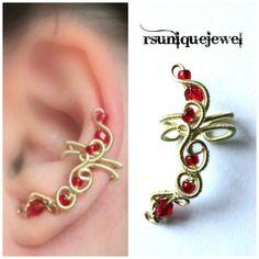 OAAK Wire Wrapped Red Ear Cuff Earcuff by rsuniquejewel on Etsy, $15.00