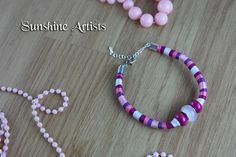 Pretty friendship bracelet, embroidery thread anklet, Princess Aurora, Glass cats eye bead, pink purple and white, adjustable lobster clasp by SunshineArtists on Etsy