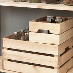 IKEA - KNAGGLIG, Box, pine, Perfect for storing cans and bottles since the wooden box is sturdy and durable. Easy to pull out and lift as the box has handles. Wooden Storage Boxes, Plastic Box Storage, Small Storage, Storage Baskets, Wooden Boxes, Storage Containers, Kitchen Storage, Storage Organization, Storage Chest