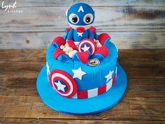 Baby Captain America fondant birthday cake by Lynh Kitchen