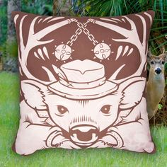 The Deer Pillow by Jeremy Fish. He's got style grace and a calm demeanor but don't let that distract you his ability to knock you on your back. @mrjeremyfish #jeremyfish #superfishal #shopUP #UpperPlayground #deer