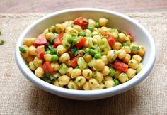 Curried Chickpea Salad (with some other variations as well--could top a salad with this as well..minus the peas of course)