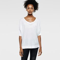 The Tahi Loose T-Shirt is made from lightweight single jersey with a soft hand-feel and drapey finish. Loose tee with narrow short sleeves and a deep V-neck. The hem is pulled in for a boyfriend fit. G Star Raw, Short Sleeves, V Neck, T Shirts For Women, Tees, Fashion, Moda, T Shirts, Fashion Styles