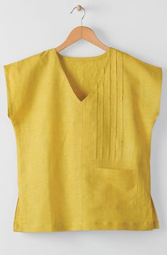 Renu Top - Citron, Tops: MarketPlace Handwork of India Petite Outfits, Casual Outfits, Fashion Outfits, Sewing Clothes Women, Clothes For Women, Misses Clothing, Blouse Designs, Linen Tops, Cotton Linen