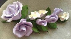 sugar Gum Paste Flower Bouquet Cake Topper, Food Decoration, Purple Roses  picclick.com