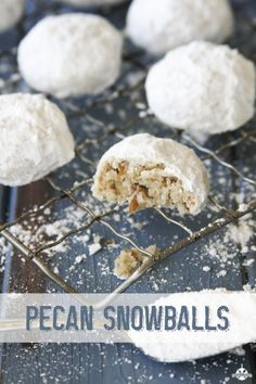 Pecan Snowballs  ~smp. My fave!! Christmas Sweets, Christmas Goodies, Christmas Time, Homemade Christmas Candy, Snowball Cookies Pecan, Pecan Cookies, Candy Cookies, Holiday Cookies, Holiday Candy