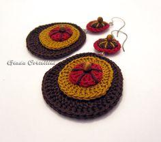 Dangle Earrings crochet cotton yarn 100 vegan by GiadaCortellini, €20.00