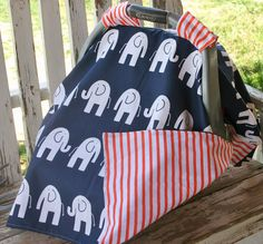 Infant Car Seat Canopy Cover navy blue w/elephants and orange stripe cotton Chicco Baby, Canopy Cover, White Elephant, Elephants, Baby Car Seats, Infant, Navy Blue, Orange, Safety