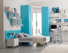 Teen bedroom blue ideas...good for boys or girls