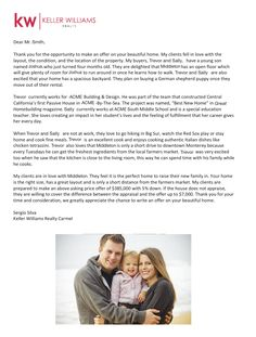 Introduction letter into my real estate career with Dilbeck ...