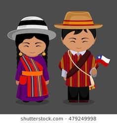 Chileans in national dress with a flag. Man and woman in traditional costume. Travel to Chile.