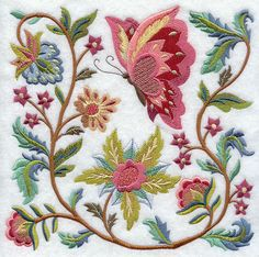 Jacobean Butterfly and Flower Square 2. Dislike machine emb, but could use some design elements