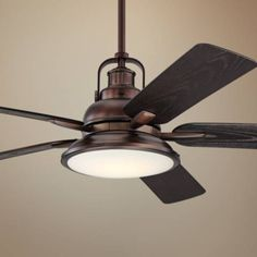 The Wind and Sea LED ceiling fan features an integrated energy-efficient light and an oil brushed bronze finish motor. Five oil brushed bronze finish molded ABS blades. Style # at Lamps Plus. Dining Room Ceiling Fan, Home Ceiling, Outdoor Ceiling Fans, Led Ceiling, Outdoor Lamps, Porch Ceiling, Modern Ceiling, Ceiling Decor, Copper Ceiling Fan