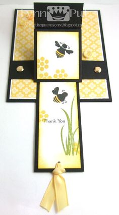 Thank You Bee Waterfall Card Fancy Fold Cards, Folded Cards, Waterfall Cards, Diy Crafts For Girls, Bee Cards, Interactive Cards, Beautiful Handmade Cards, Easel Cards, Scrapbook Cards