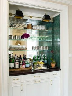 Karen's wet bar in Living room  La Dolce Vita: Color Story: Going Green |Pinned from PinTo for iPad|