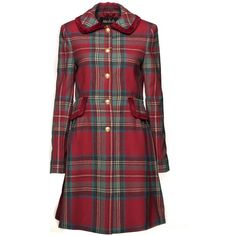 Isla Coat ❤ liked on Polyvore featuring outerwear, coats, tartan coat, plaid coat, tartan dog coat, petite wool coats and wool coat