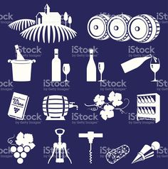 Vineyard and wine royalty free vector icon set royalty-free stock vector art