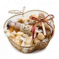 Rosh Hoshanah Gift Basket | Gold shaped apple basket with Savannah Bee Honey and Salt Water Taffies