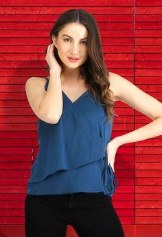 d66ca7b005c AELO Blue Sleeveless Wrap Top for WOMEN - #aelo #aelomart #wraptop #fashion