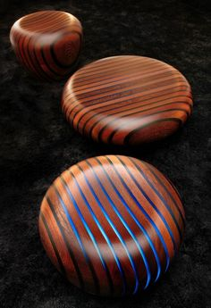 Wood stools w/ LED lights (Bright Woods Collection created by Italian Giancarlo Zema Design Group)