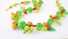MURANO VENETIAN Art DECO Glass FRUIT Salad LEAVES BEAD Necklace Italian VTG