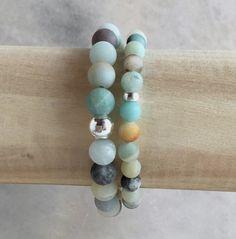 Amazonite Bead Bracelet Set, Stackable Sterling Silver Earthy Jewelry, Women's / Men's Bracelet, Blue Green Brown Stone Jewelry on Etsy