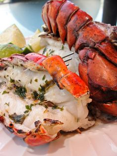 Grilled Lobster with Cilantro Butter ~ Note: this cilantro butter can be used for any type of seafood: shrimp, scallops, fish steaks and even chicken breast Lobster Recipes, Fish Recipes, Seafood Recipes, Great Recipes, Favorite Recipes, Think Food, I Love Food, Grilling Recipes, Cooking Recipes