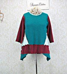 Plus Size 2X,Sweatshirt Tunic,Upcycled Clothing,Brushed Sweatshirt Top,Boho Clothing,Teal Maroon Tunic,Plus Size Clothing,Repurpose Couture by RepurposeCouture on Etsy