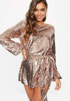 509aba2c9fd Missguided Rose Gold Sequin Belted Romper Sequin Playsuit