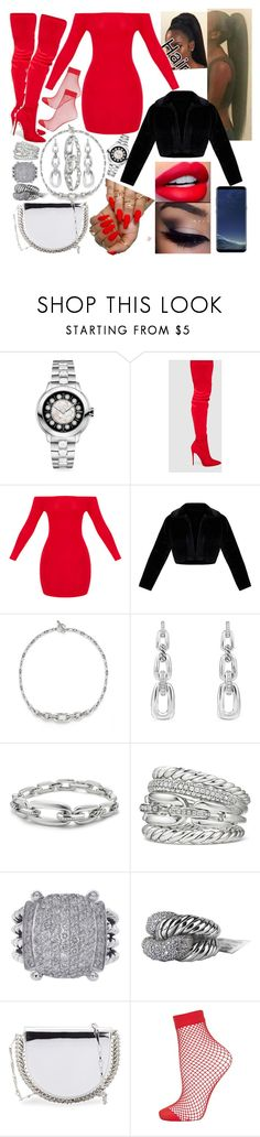 """""""Red Like Mrs.Claus"""" by goodgirldeja ❤ liked on Polyvore featuring Fendi, David Yurman, Paco Rabanne, Topshop and Samsung"""