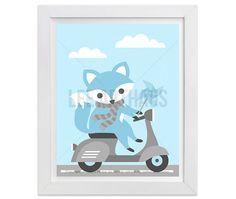 6G  Fox Print  Blue Baby Fox on Vespa Wall Art  Blue by leearthaus