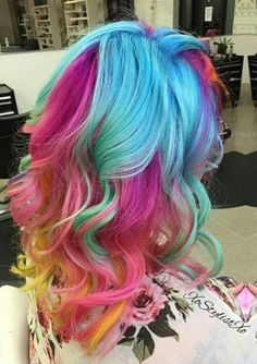 blue pink yellow rainbow dyed hair color @embee.meche