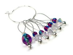 Knitting Stitch Markers Set Beaded Snag Free Magenta by TJBdesigns, $7.50