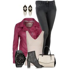 """""""Cranberry Leather"""" by kswirsding on Polyvore"""