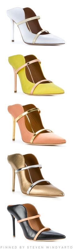 Malone Souliers - Leather contrast heeled mules #shoes #malonesouliers