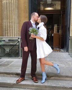 High Street Wedding Dresses, Mini Wedding Dresses, Bridal Dresses, Bridal Looks, Bridal Style, Blue Wedding Decorations, Ceremony Dresses, Civil Wedding, Bridal Musings