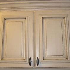 White Glaze Cabinets - SW Antique White with Dark Umber Glaze